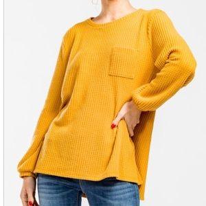 NWT - Cherish Waffle Knit Top -Mustard w\Pocket